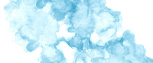Blue And White Watercolor Background With Abstract Blotches And Color Splash Wash Design With Grain Watercolor Paper Texture