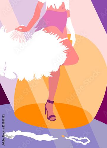 Obraz Występ burleski dziewczyna z wachlarzem z piór - fototapety do salonu