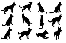 A Huge Collection Of German Shepherd Dog Silhouette Figure