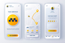Taxi Service Unique Neomorphic Design Kit For Mobile App Neomorphism Style. Online Taxi Booking Screens With Route. Transportation Service UI, UX Template Set. GUI For Responsive Mobile Application.