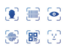 Fingerprint, Face ID, Barcode, Eye And QR Code Scanner. Identity Biometric Verification Icon. QR Code Scan, Barcode Scan And Face Recognition Icon Set. Security, ID Scanner Icons. Vector Illustration