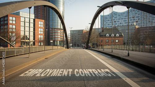 Fotografie, Obraz Street Sign EMPLOYMENT CONTRACT