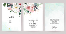 Silver Sage Green, Mint, Blush Pink Flowers Vector Design Spring Cards.
