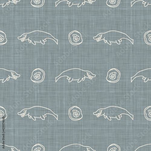 Seamless background Mosasaurus dinosaur gender neutral baby pattern фототапет