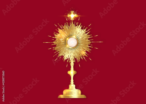 Fotografia Monstrance Gold Ostensorium used in Roman Catholic, Old Catholic and Anglican ceremony traditions