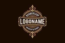 Barbershop Pole Badge Logo Design Icon, Gold, White And Brown Ornamental Hipster Vintage Retro Classic Victorian Style Barber Salon Logo Vector