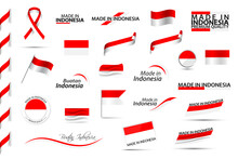 Big Vector Set Of Indonesian Ribbons, Symbols, Icons And Flags Isolated On A White Background. Made In Indonesia, Premium Quality, Indonesian National Colors. Set For Your Infographics And Templates