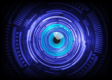 Blue Eye Ball Abstract Cyber Future Technology Concept Background