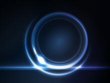 Blue Glowing Round Frame