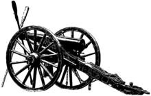 Civil War Era Cannon Realistic Illustration In Black On White Background