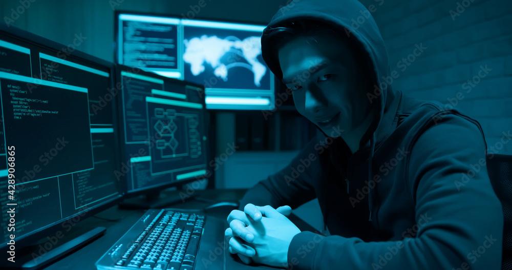 Fototapeta Asian male hacker