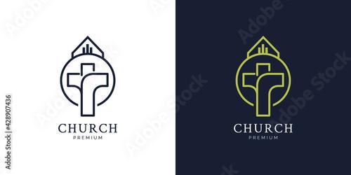 Fototapeta Illustrations of church logo design concept obraz