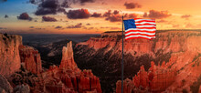 American National Flag Overlay. View Of The Beautiful American Canyon Landscape. Dramatic Colorful Sunset Sky Artistic Render. Taken In Bryce Canyon National Park, Utah, United States