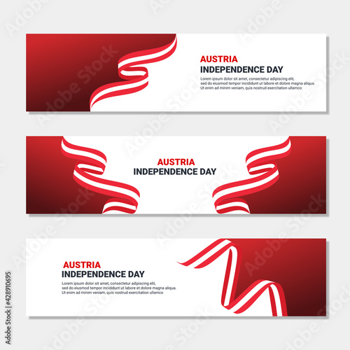 Canvas Print Set of austria independence day banner design