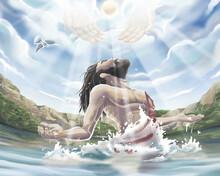 Baptism Of Jesus Christ In The Jordan River Painted Illustration