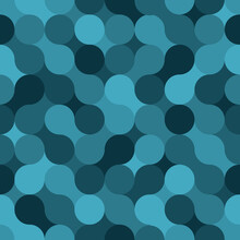 Circle Geometric Shapes. Vector Seamless Pattern. Blue Repetitive Background. Fabric Swatch. Wrapping Paper. Continuous Print. Endless Design Element For Home Decor, Apparel, Textile, Cloth
