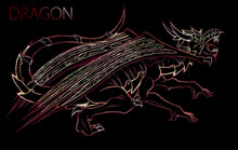 Digital Neon Colored Dragon Silhouette With Armor
