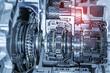Leinwandbild Motiv Metallic background of car automotive transmission gearbox