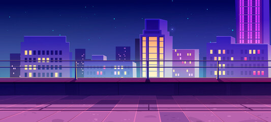Terrace on rooftop with city view at night. Empty patio on roof or balcony with railing on background of cityscape with modern buildings and skyscrapers. Vector cartoon house terrace in town