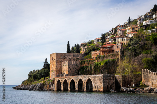 Fotografie, Obraz View of a beautiful medieval town perched on a hill overlooking the sea