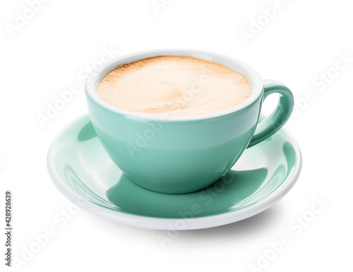Fototapeta Cup of hot cappuccino coffee on white background