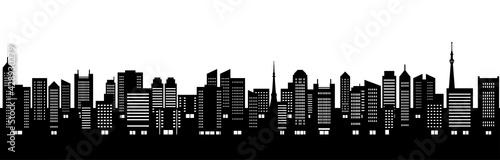 ビルのある都市風景のイラスト(シルエット)