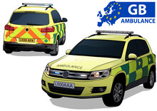 British Ambulance Car In Two Views Isolated On White Background - Colored Illustration, Vector