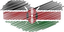 Kenyan Flag Heart Symbol Vector - Editable Flags And Maps