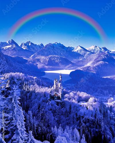 Canvas 厳冬期のノイシュバンシュタイン城にかかる虹