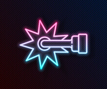 Glowing Neon Line Cowboy Horse Riding Spur For Boot Icon Isolated On Black Background. Vector
