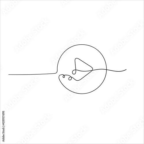 hand drawn doodle play button illustration in single line art doodle Fototapeta