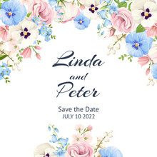 Vector Invitation Or Greeting Card With Pink, Blue And White Pansy Flowers, Lisianthus Flowers And Forget-me-not Flowers.