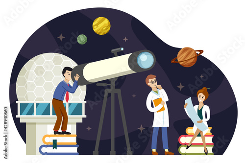 Canvas Astronomers scientists study space illustration