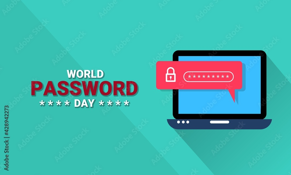 Fototapeta Vector illustration of a laptop with password security, as a banner, poster or template on world password day.