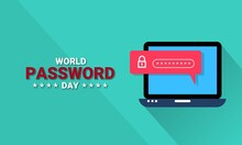 Vector Illustration Of A Laptop With Password Security, As A Banner, Poster Or Template On World Password Day.