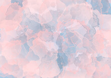 Abstract Watercolor Grunge Background In Pastel Color. Illustration Of Paint Drips In Pink And Blue