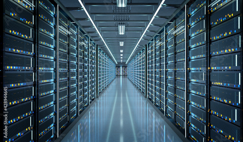 Fotografiet Server room data center - 3d rendering