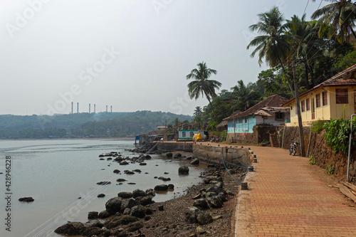 Obraz na plátne Beachside houses and footpath road of Anjanvel village, Konkan Ratnagiri, Mahara
