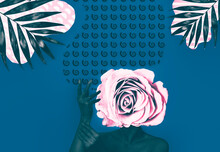 Modern Art Collage Of Woman With Rose Head.