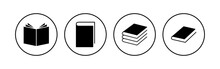 Book Icon Set. Open Book Icon Vector. Ebook Icon
