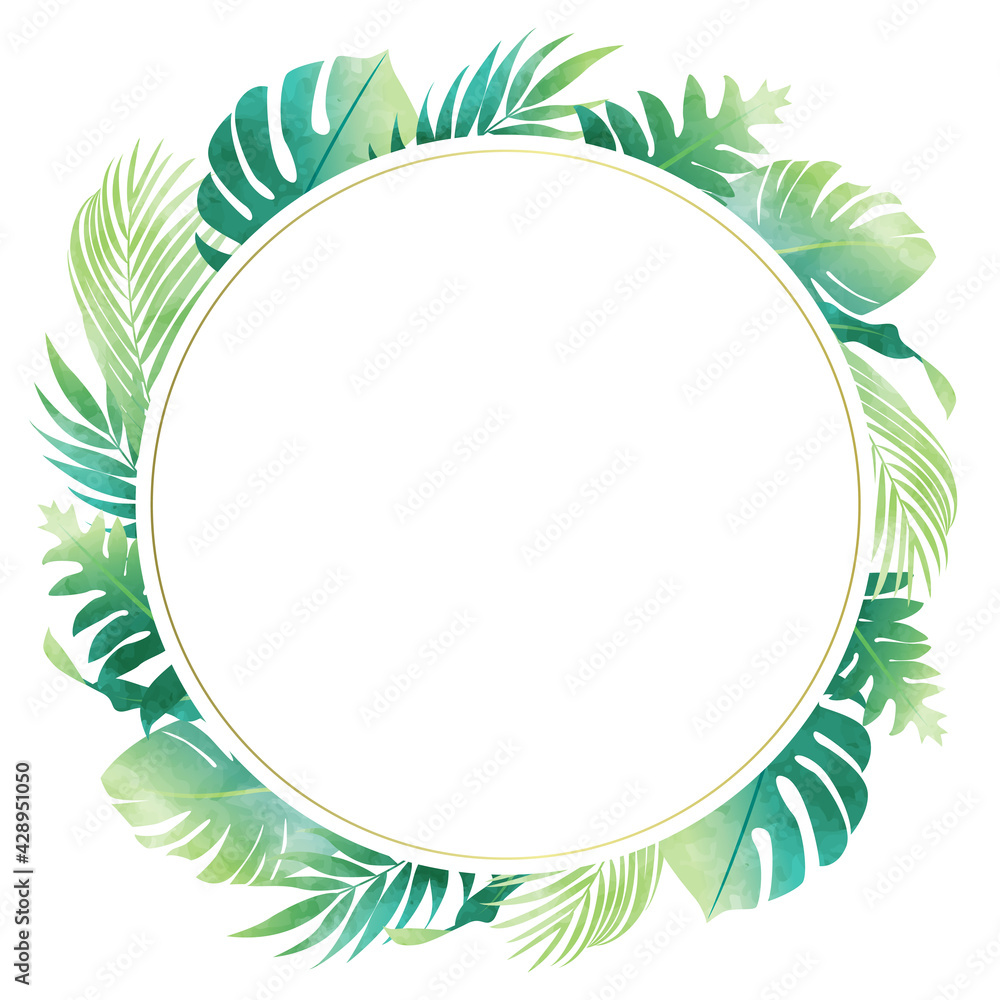 Fototapeta 夏のモンステラやヤシの葉など数種類のトロピカルなベクターイラストフレーム(コピースペース,水彩風)