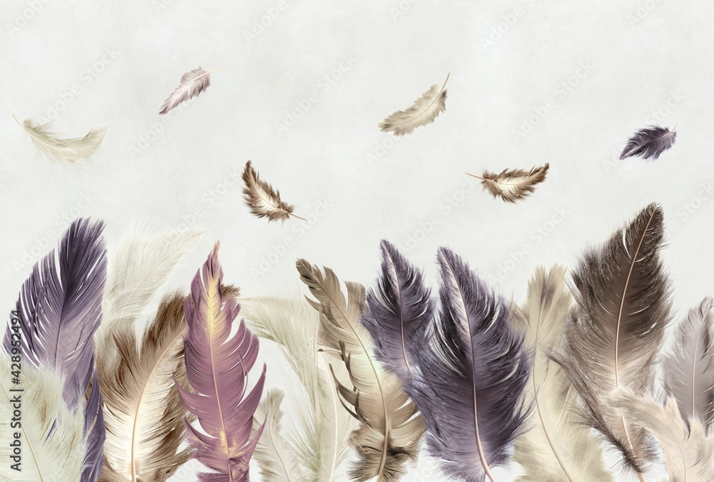 Colored feathers. Photo wallpaper, beautiful picture for the wall. Abstract drawing with feathers.