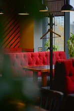 Restaurant Interior Background, Red And Green Tones. Inside An Empty Restaurant