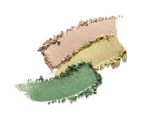 Make-up Beige Yellow Green Texture Eye Shadow Smudge Isolated White Background Swatch