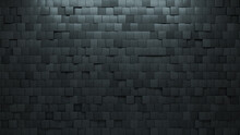 Polished, Futuristic Wall Background With Tiles. 3D, Tile Wallpaper With Square, Concrete Blocks. 3D Render