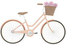 Bicycle With A Bouquet Of Spring Flowers. Cute Hand Drawn Bicycle Or Bike Isolated On White Background. Urban Eco Friendly Pedal Transport Carrying Baskets With Flowers.