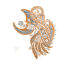 Flying Bird And Paisley Vector Isolated Pattern. Vintage Floral Illustration In Batik Style
