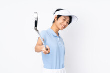 Young Vietnamese Golfer Woman Over Isolated White Wall Playing Golf