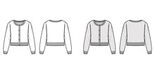 Round Neck Cropped Cardigan Sweater Technical Fashion Illustration With Long Sleeves, Oversized Body, Knit Rib Cuff. Flat Jumper Apparel Front, Back, White Grey Color Style. Women, Unisex CAD Mockup