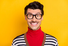 Photo Of Young Cheerful Handsome Man Happy Positive Toothy Smile Wear Red Turtleneck Isolated Over Yellow Color Background